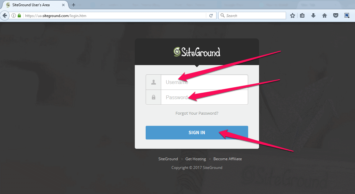 SiteGround Login page.png
