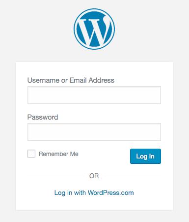 wordpress backend login